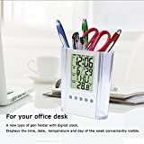 #7: A new type of pen holder with digital clock. Displays the TIME, DATE, TEMPERATURE and DAY OF THE WEEK Conveniently Visible Alarm Clock Pen Holder for Home Office.