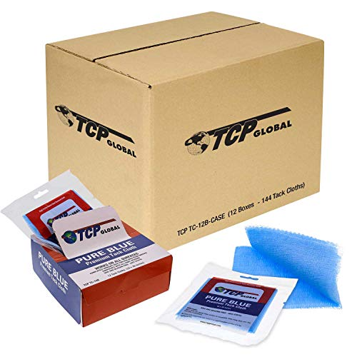 TCP Global - Pure Blue Premium Tack Cloths - Tack Rags (Case of 144) - Automotive Car Painters Professional Grade - Removes Dust, Sanding Particles, Cleans Surfaces - Wax and Silicone Free Anti-Static
