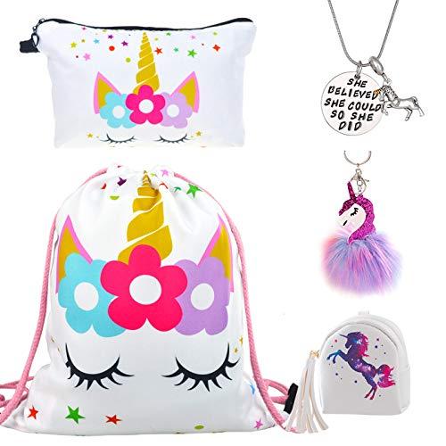 DRESHOW Unicorn Drawstring Backpack Make Up Bag Inspirational Necklace for Girls