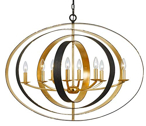 Crystorama 588-EB-GA Contemporary Modern Eight Light Chandelier from Luna collection in Bronze/Darkfinish, 29.00 inches