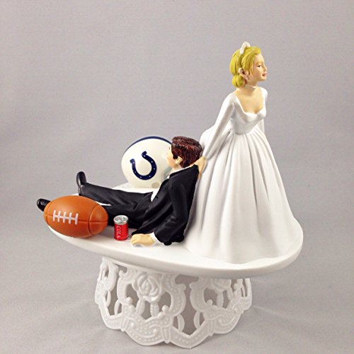 Funny Wedding Cake Topper Indianapolis Colts Football Themed Can Be Personalized with Your Favorite NFL Team