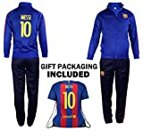 Fan Kitbag Barcelona Messi #10 Kids Soccer Tracksuit All Youth Sizes ✓ Messi #10 Soccer Track Jacket Top ✓ Kids Soccer Track Pants ✓ GIFT READY Packaging (12-14 Years Old, Messi #10 Tracksuit)