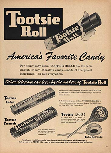 America's Favorite Candy Tootsie Roll Pops Fudge & Milky Caramels ad 1953 L