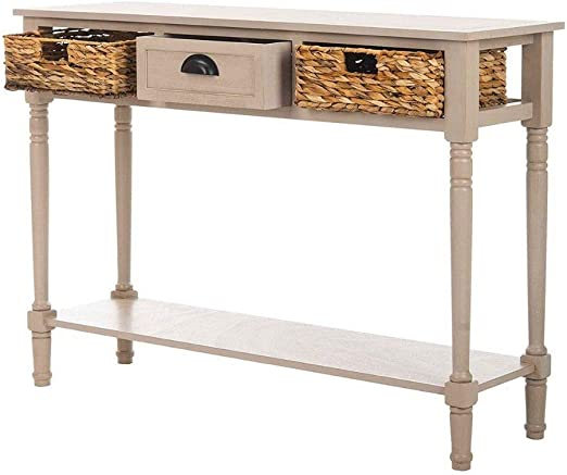 Gray Rustic Wood Console Table Entry Accent Hall Drawers Storage Stand Sofa NEW