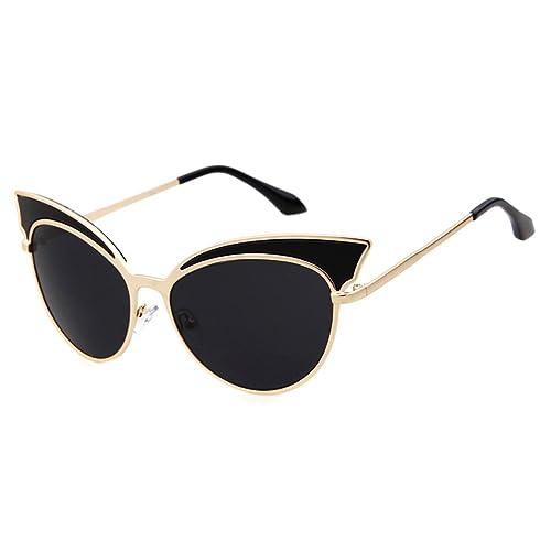 ADEWU Unisex Gatto Stile Sottile Struttura in metallo Specchio Ovale Occhiali da sole