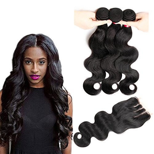 BAINUO Brazilian Body Wave Closure 4x4 Human Hair Lace Closure Free Middle Three Part Natural Color 3Bundles Remy Hair With Closure Soft Feel (Free part, 14+16 16 16)