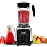AIMORES Commercial Blender, Pre-Programmed for Smoothie, Juice, Ice Cream, Timing | Speed | Pulse | Auto Clean Shutoff, 8 Blades, 75oz Tritan Pitcher, w/ Recipe | ETL & FDA Certified (Silver)