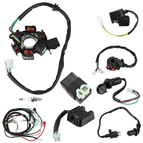 Akozon Wiring Harness Electric Wiring Harness Kit Relay Rectifier Magneto Stator for GY6 125cc 150cc: