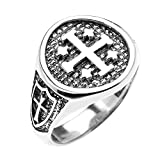 925 Sterling Silver Knights Templar Shield Crusader Band Jerusalem Cross Ring for Men (Size 9)