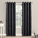 "Sun Zero Woven Wave Blackout Grommet Curtain Panel, 52"" x 84"", Dusk Blue"