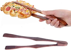 TXIN 2 Pieces Toaster Tongs Wooden Toast Tongs Wood Bread tongs, 10.43 inch Pastry Serving Tongs Multipurpose Eco-Friendly Food Tongs for Pancakes/Bacon/Muffins/Cooked food/Fried Food