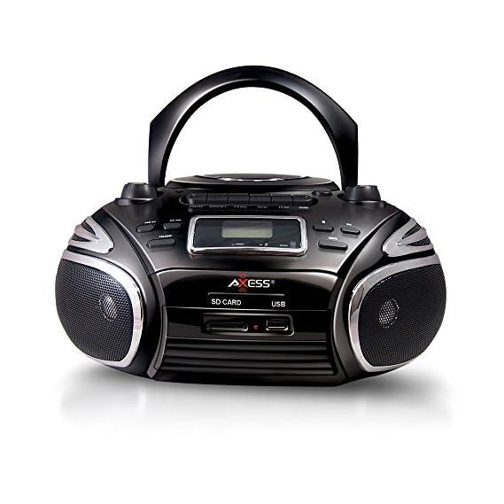 Axess Portable AM/FM Radio, CD/MP3 Player, USB/SD & Cassette Recorder Boombox