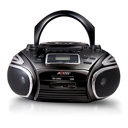AXESS PB2705 Portable Boombox with AM/FM Radio, CD/MP3 Player, USB/SD, Cassette Recorder and Headphone Jack (Black)