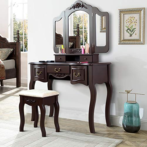 - Giantex Vanity Dressing Table Set with Stool, Tri Folding Vintage Vanity Makeup Dressing Table Set 5 Drawers Christmas, Large Vanities with Bench (Brown)