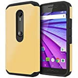 Moto G3 Case, Moto G 3rd Generation Case Celljoy [Liquid Armor] {Metallic Gold} Motorola Moto G 3rd Gen. 2015 Release Model Slim Fit Dual Layer Protective **Shockproof** Hybrid Case - Thin Hard Cover