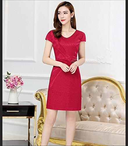 Sleeve Dress Solid Silk Neck V Red cotyledon Dresses Short Women`s Color wfXFnZqxp