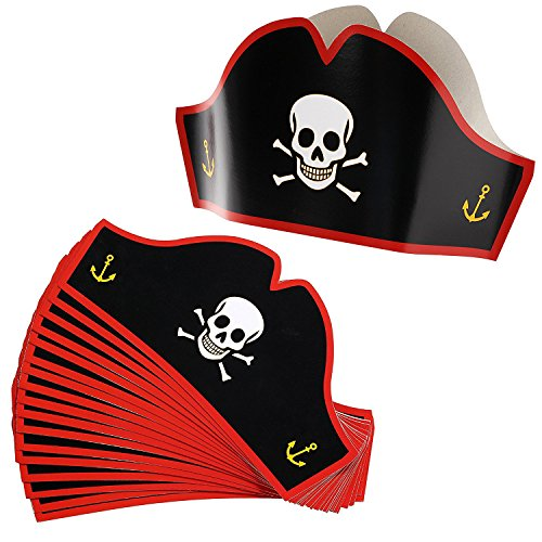 Juvale Cardboard Pirate Hats - Adjustable Party Hats for Halloween Pretend Play Party Favors - 24 Count ()
