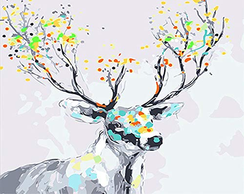 ABEUTY DIY Paint by Numbers for Adults Beginner - Colorful Deer Head 16x20 inches Number Painting Anti Stress Toys (Wooden Framed) (Deer Framed Head)