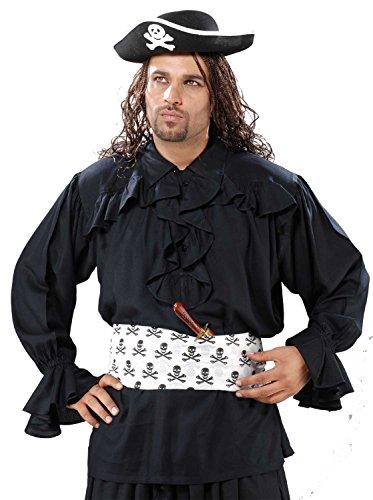 Medieval Poet's Pirate Francis Drake Pirate Shirt Costume [Black] (Francis Drake Costume)