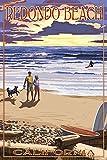 Redondo Beach, California - Sunset Beach Scene (12x18 Collectible Art Print, Wall Decor Travel Poster)