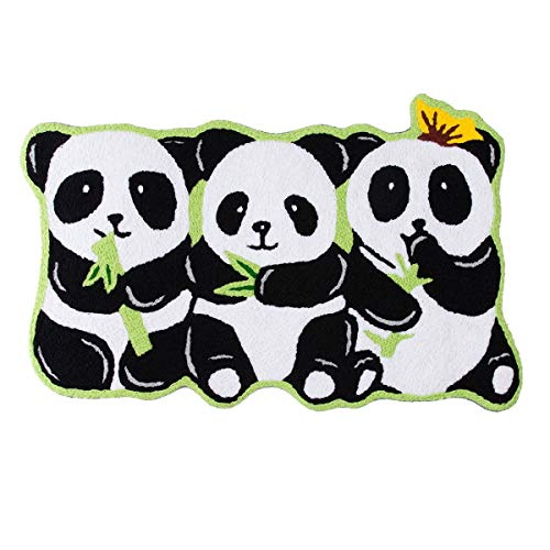 - Flying Frog Panda Shaped Hand-Woven Acrylic Area Rugs Welcome Decoration Mat, Bath Door Mat with Non-Slip, Multi-Colored - 31