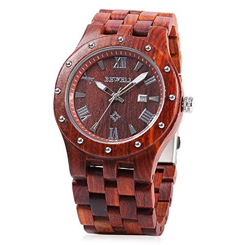 Bewell W109a Men Wooden Quartz Watch Round Dial Analog Handmade Wood Wristwatch  Red