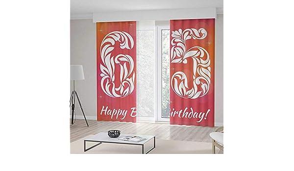 iprint - Juego de Cortinas Decorativas para 60 cumpleaños, diseño Abstracto con Texto en inglés, Color Rojo y Rojo: Amazon.es: Hogar