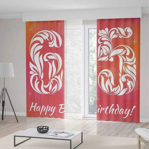 Window Curtains Blackout,65th Birthday Decorations,for Bedroom Living Dining Room Kids Youth Room,Greeting Card Inspired Design with Decorative Font Swirls2 Panel Set,55W X 82L Inches