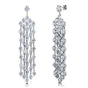 BERRICLE Rhodium Plated Base Metal Cubic Zirconia CZ Statement Dangle Chandelier Earrings