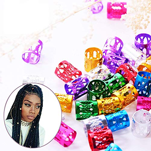VintageBee 140 Pieces Dreadlocks Metal Hair Cuffs Hair Braiding Beads Filigree Hair Accessory, Assorted Colors