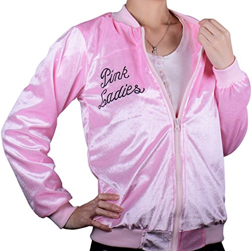Danny And Sandy Grease Costumes (Vintage 1950S Costume Pleuche Casual Pink Ladies Jacket Adult Women X-L)