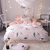 ZZY Bedding Cotton Bed Four Sets of Cotton Sheets Quilt Cover Pillowcase Washed Cotton Simple Bed Products Nordic Style Plain (Color : C, Size : 1.8m)
