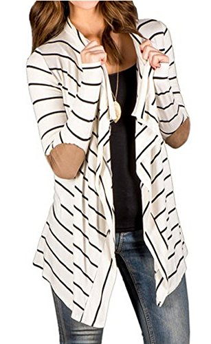 Relipop Women Black and White Striped Long Cardigan Loose Jacket (Large, White) (Striped Cardigans For Women)