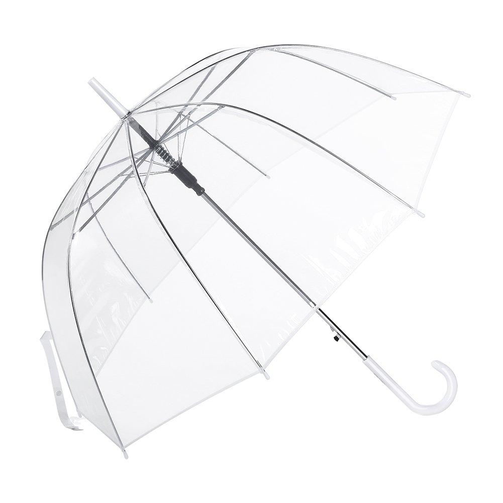 Parapluie Canne Transparent, Cloche Dome Bubble Parapluie Automatique Femme , Décoration de Mariage Champignons à Parapluie Romantiques Formes de Cerisier Érable et Clair Parapluie (Transparent)