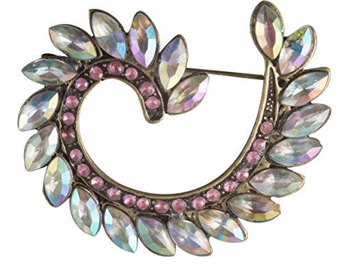 Victorian Swirl Brooch in Gunmetal Finish with Clear and Pink (Elizabethan Era Costume History)