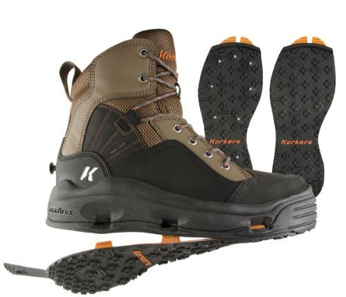 Korkers BuckSkin Wading Boot with Kling-On and Studded Kling-On Outsoles, Chocolate Chip/Black, 8 by Korkers