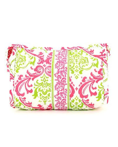 Belvah Quilted Damask Cosmetic Case (Fuchsia/ Lime), Bags Central