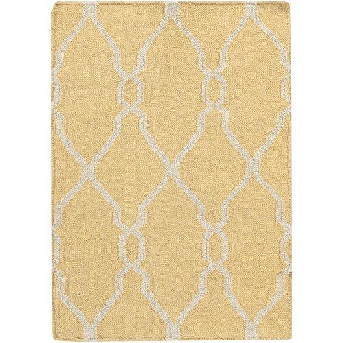 Surya Jill Rosenwald by Fallon FAL-1001 Flatweave Hand Woven 100% Wool Gold 2' x 3' Global Accent (Fallon Wool Rug)