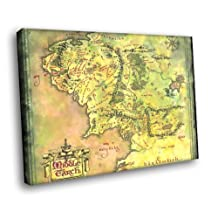 H5D8942 The Lord of the Rings Middle Earth Map 20x16 FRAMED CANVAS PRINT
