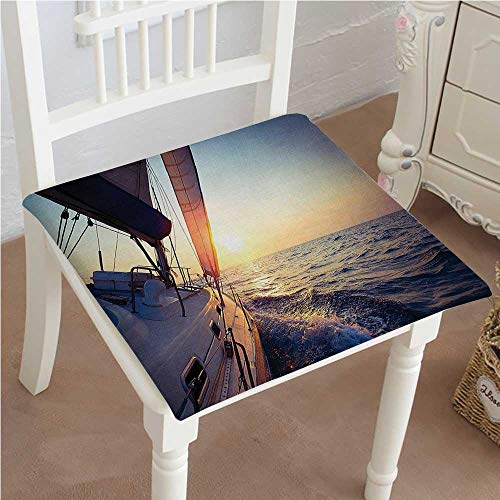 Mikihome Squared Seat Cushion Decor Collection Sail Boat Gliding in Open Sea at Sunset Leisure Vessel Windy Garden Patio Home Kitchen Office Sofa Seat Pad 26