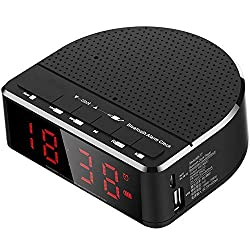 Bluetooth Speaker with Digital Alarm Clock, Red Digit Display Built-in Microphone Bluetooth Alarm Clock Speaker FM Radio Bedside Led Alarm Clock for Bedrooms Hotels Tables,Black