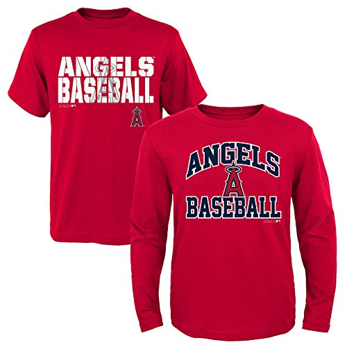 MLB Youth Boys 8-20 Angels 2Piece Long & Short sleeve Tee Set, L(14-16), Assorted