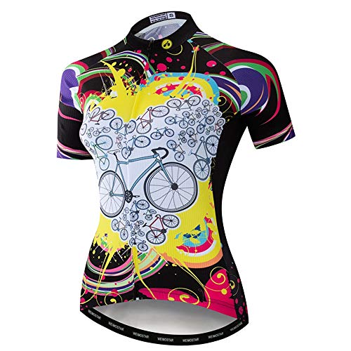 Weimo Women Cycling Jersey Tops Breathable Bike Jersey Shirt, White Yellow 63, TAG XXL(FOR YOUR CHEST 41-44