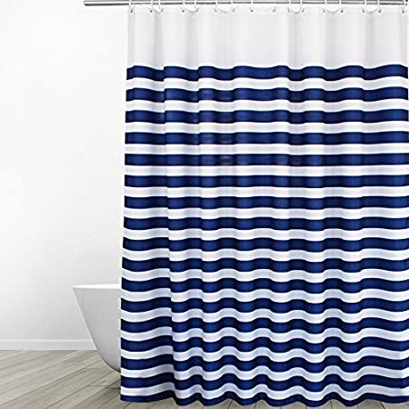 Unisexual blue and grey shower curtain