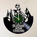 NIGHTMARE BEFORE CHRISTMAS 12 INCH / 30 CM VINYL RECORD WALL CLOCK Unique Art Design of JACK SKELLINGTON – GIFT FOR GIRLS – Nightmare before christmas wall poster, Nightmare before christmas decal