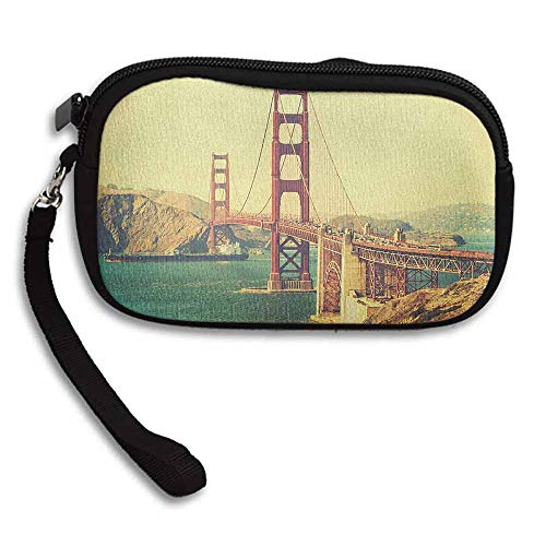 (Vintage Clutch Purse Cell Phone Old Film Featured Golden Gate Bridge Suspension Urban Path Construction Scenery W 5.9