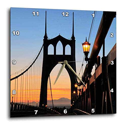 3dRose Danita Delimont - Oregon - USA, Oregon, Portland. St. Johns Bridge at Sunrise. - 13x13 Wall Clock (DPP_314974_2) (Furniture Patio Oregon Portland)
