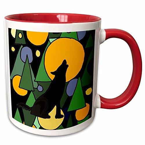 3dRose All Smiles Art Abstract - Colorful Wolf Howling at Moon Abstract Art - 15oz Two-Tone Red Mug (mug_196101_10) (Pics Of Wolves Howling At The Moon)