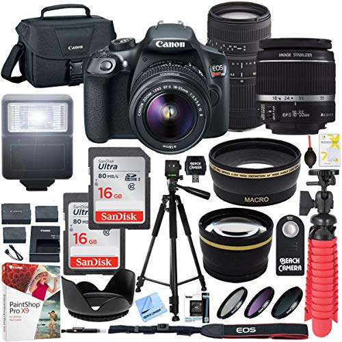 Canon EOS Rebel T6 Digital SLR Camera with EF-S 18-55mm is II and Sigma 70-300mm f/4-5.6 DG Macro Telephoto Zoom Lens and SanDisk Memory Cards 16GB 2 Pack Plus Triple Battery Accessory Bundle