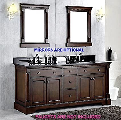 72 Inch Dark Chestnut Brown Vanity Bathroom Cabinet Double